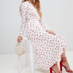 NWT ASOS white & red polka dot midi dress